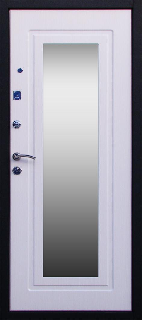 Входная металлическая дверь А ля Русс Зеркало Бел. дуб