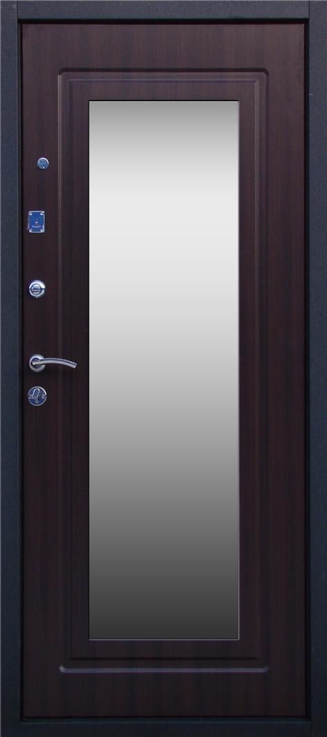 металлическая входная дверь черный шелк с зеркалом